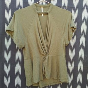 FREE PEOPLE army green cut out top